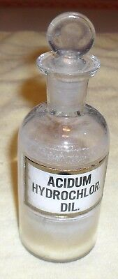 Old Drug Store Apothecary Acidum Hydroch Dil. Bottle Label Under Glass Stopper