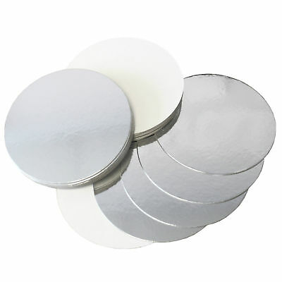 REVERSIBLE CAKE BOARDS SILVER/WHITE - 1.5mm THICKNESS - 6, 7, 8,9 INCH