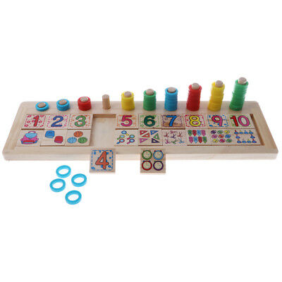 Wooden Doughnut Numbers Match & Count Kids Educational Mathematics Toy Gift