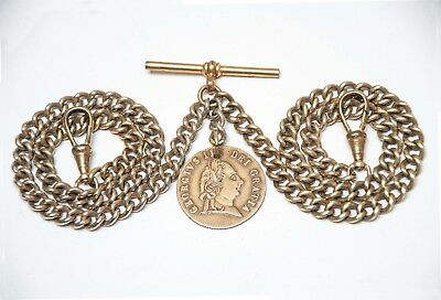 Vintage Gold Plated Double Albert Pocket Watch Chain + 1768 Token Fob .