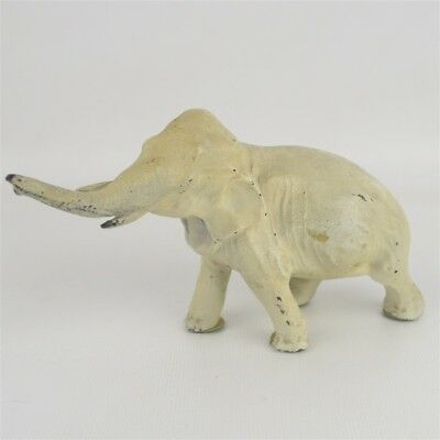 Antique Vintage Painted Hollow Diecast Lead Elephant Figurine Heavy Nice