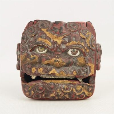Antique Japanese Oni Demon Figural Lacquered Hinged Box Small Folklore