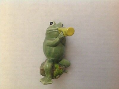 """Vintage Norcrest Frog with Trumpet Tagged Japan ~ 3"""" Tall"""