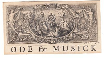 Kupferstich um 1700 Simon Gribelin Ode for Music Musik Allegorie Ornament