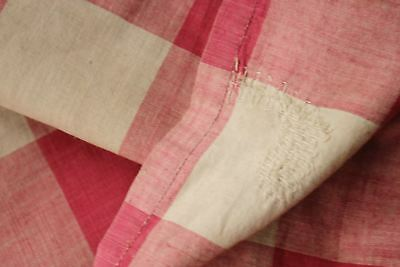 Antique French Vichy check fabric ~ pink ~  late 1700s TIMEWORN gently faded