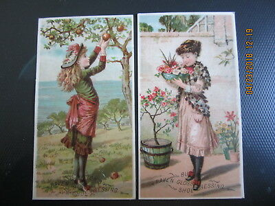 vintage TRADE CARD 2pc RAVEN GLOSS SHOE DRESSING picking apples 5 3/4 x 3 1/8""