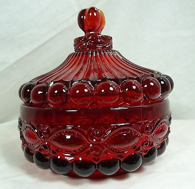 Eye Winker Covered Candy Dish Ruby Red Glass Mosser Glass