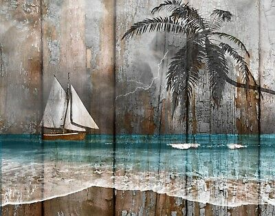 Rustic Coastal Home Decor, Sailboat, Ocean, Beach Theme Wall Art Matted Picture