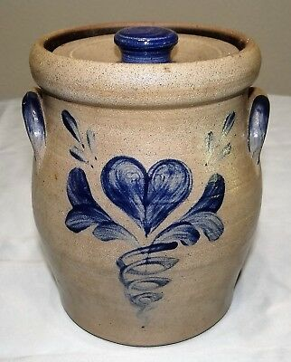 "Rowe Pottery Salt Glazed Cobalt Blue HEART 2001 7 1/4"" Cookie Jar Canister w Lid"