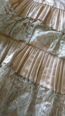 BEAUTIFUL ANTIQUE FRENCH ROSE SILK LACE FRILL PETTICOAT SKIRT c1890