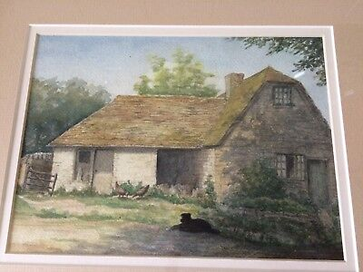 Framed Water Colour Painting Of Old Rural Cottage With A Black Dog Outside