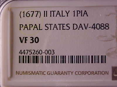 Papal States Piastre (Scudo) Innocent Xi (1677) Year Ii, D-4088, Ngc Vf 30