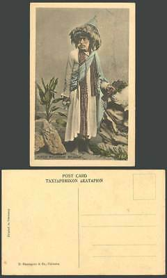 India Old Hand Tinted Postcard Hindu Religious Beggar Traditional Costumes Rocks