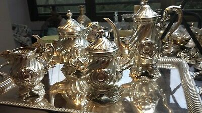 6200g EXTRA SIZE SET STERLING SILVER RICH ENGLISH STYLE COFFEE TEA 5 ITEM:PEREZF