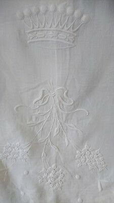 Divine Antique French Linen Panel & Couronne Crown Of A Countess C1880