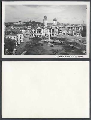 Singapore Old Real Photo Postcard Victoria Memorial Hall Clock Tower Obelisk Gdn