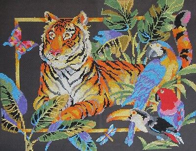 Tiger, Parrots & Toucan FINE cross stitch completed tapestry on black canvas VGC