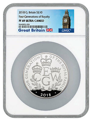 2018 G Britain Four Generations Royalty 5 oz Silver £10 NGC PF69 UC SKU53506
