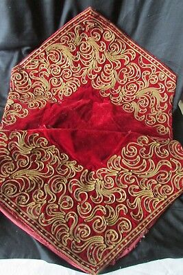 Divine Antique French Red Velvet & Gold Embroidery Coils & Sequins Cushion Cover