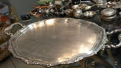 1276g STERLING SILVER HANDLE OVAL TRAY HEAVY BORDER CARVING STYLE