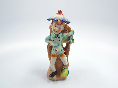 Vintage HP Japan Hand Painted Elf Pixie with Flower Hat on Tree Wall Pocket