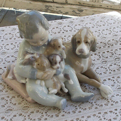"RARE Vintage 6.5"" Lladro Child & Dogs Figurine #5456 New Playmates Retired MINT"