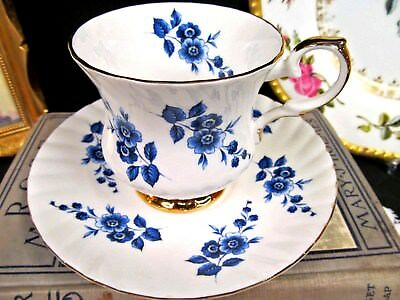 ELIZABETHAN  tea cup and saucer pretty blue floral teacup footed pattern