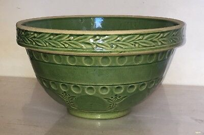 """Vintage Aesthetic Early 1900s McCoy RRP Yelloware Green Mixing Bowl - 10"""""""