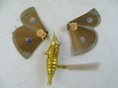 Antique German Christmas Ornament 1800s Vintage Glass Moth Butterfly Open Wings