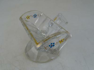 Antique EAPG Toothpick Holder Sugar Cube Hand Painted Flower Glass 1800s Vintage
