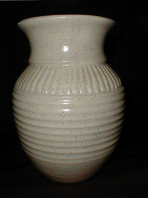 Hand Crafted Pottery Ceramic Peachy Beige Ringed Vase w Black Speckles - Signed