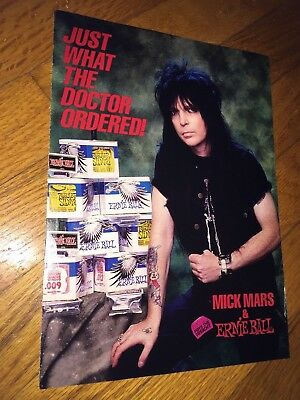 Ernie Ball Strings Guitar Magazine Ad Promo(80's) Mick Mars of Motley Crue