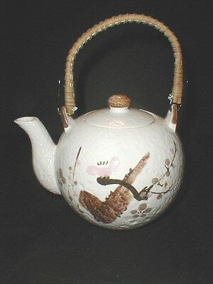 Japanese Porcelain Pink Brown Gray Floral Hand Painted Teapot -Made in Japan