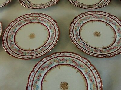 11 LOVELY ANTIQUE French GDA LIMOGES Luncheon Plates ROSES Floral