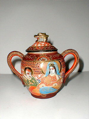 "Japan Takito SATSUMA Moriage Dragon Dragonware 6-1/4"" Tall Sugar Bowl---LARGE"