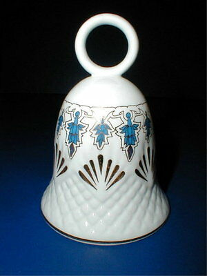 Harleigh Fine English Bone China Blue Geometric Design Bell w 22K Gold