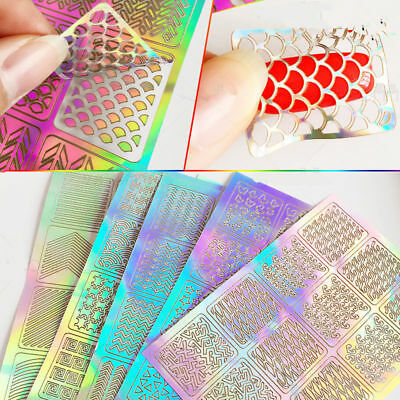 24Pcs Sheets Nail Art Hollow Stencil Template Stickers DIY Manicure Stamp Tool