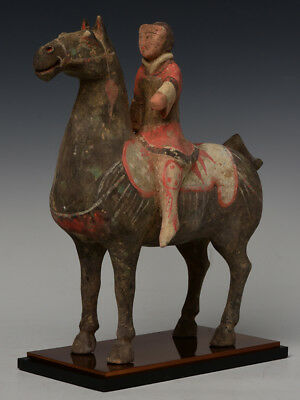 Han Dynasty, Antique Chinese Painted Pottery Horse and Rider