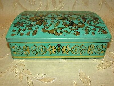 Large Vintage Biscuits Tin By Etabl J. Schuybroek S.A. Hoboken -Anvers With Lock