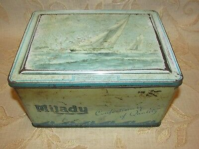 "Large Vintage Milady "" Britannia & Westward "" Of Cowes Tin"