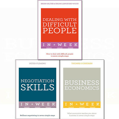 Business Economics,Negotiation Skills,Dealing With Difficult 3 Books Collection