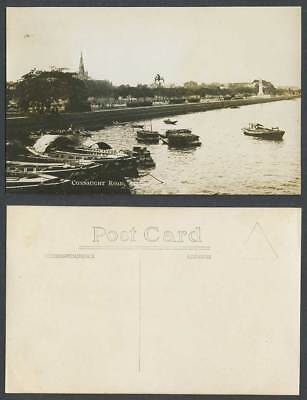 Singapore Old Real Photo Postcard Connaught Road Sampans Boats Harbour Church RP