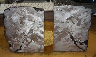 Beautiful 4194 Gm. Pair Of Etched Campo Del Cielo Meteorite Book Ends
