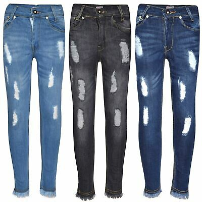 Girls Stretchy Jeans Kids Denim Ripped Rough Pants Trousers Jeggings 5-13 Years