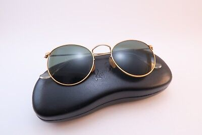 Vintage B&L Ray Ban metal sunglasses made in USA original etched BL lens w/case