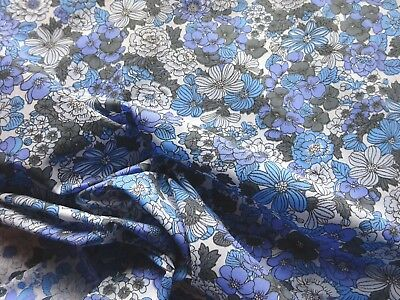 Vintage 1950's Narrow Width Poly-Cotton Dress Making Fabric Blue Floral