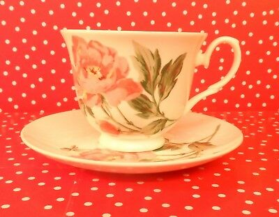 LAURA ASHLEY BONE CHINA CUP AND SAUCER, Roses with green leaves,