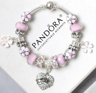 Authentic Pandora Charm Bracelet Silver MOM Pink Mother Day European Charms New