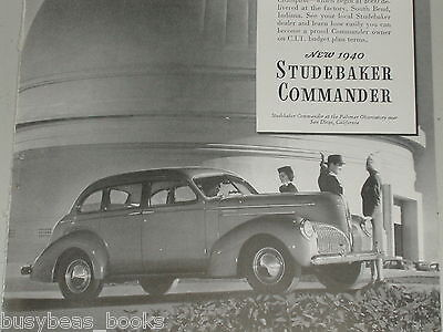 1940 STUDEBAKER Commander advertisement, vintage auto beside Palomar Observatory