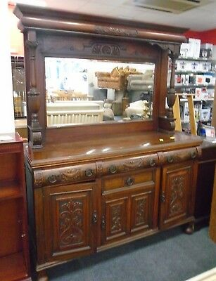 Antique Gothic Style Solid Carved Wood Dark Brown Sideboard / Chiffonier - S75